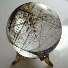 Rutilated Quartz Crystal Ball / Sphere For Home Decoration