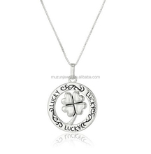 925 sterling silver lucky clover circel pendant necklace