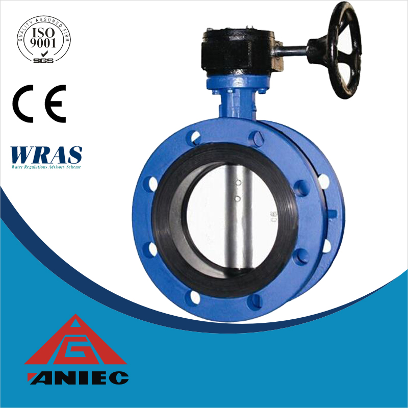 ductile iron double flange butterfly valve rubber seat