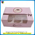 Wholesale packaging cupcake box with fastened ribbon