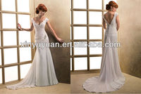 2013 New Arrival Deeep -V-neck Mermaid Cap Sleeves Floor-length Lace Applique Beaded Wedding Dresses Chapel Train MA-1008