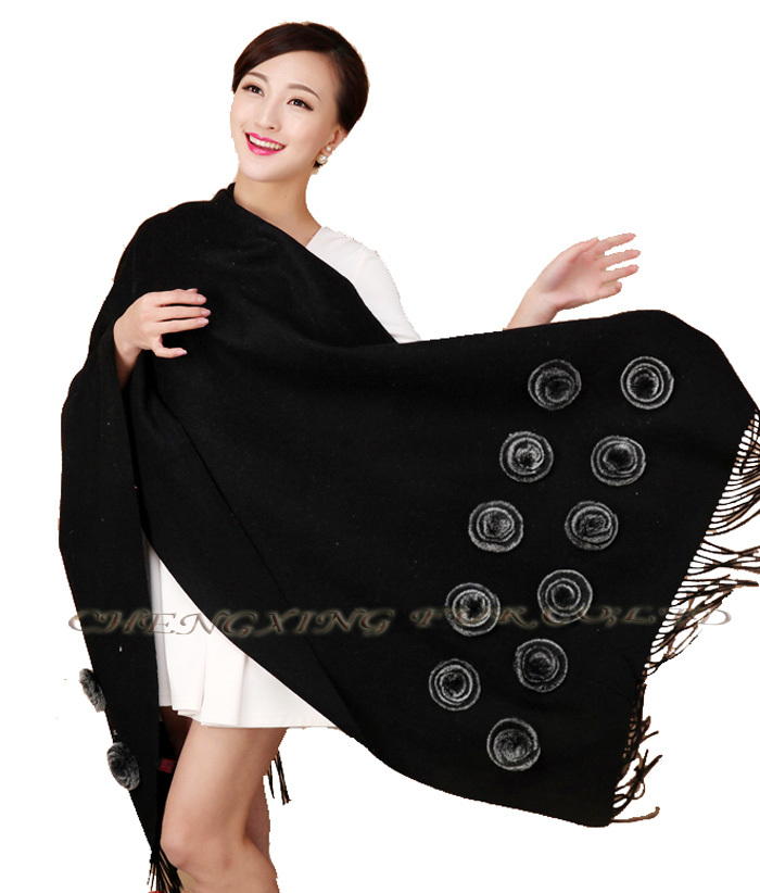 CX-B-P-36C Fur Decora Fashion Italian Cheap Cashmere Pashmina Scarf