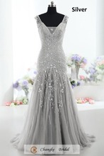 Chinese Luxury Evening Dress Beads Pattern Mermaid Court Train Formal Gown Red Carpet 2017