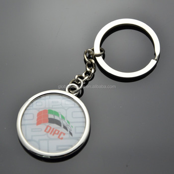 cheapest promotional round metal keychain with epoxy logo