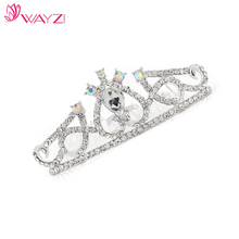 WAYZI brand silver rhinestone crown wedding crown bride crown tiaras hair accessories