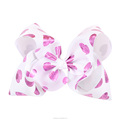 7 Inch Fancy Hearts Printed Ribbon Hair Bow With Clip
