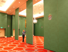 Banquet hall acoustic folding sliding wall partitions with aluminum track
