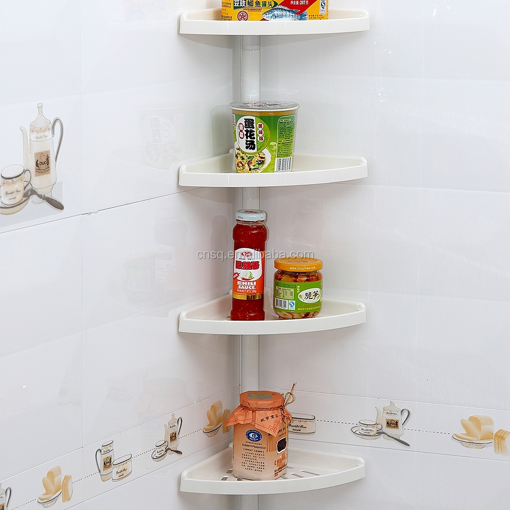 1858 SQ 4 tier plastic bathroom corner shelf for bathroom