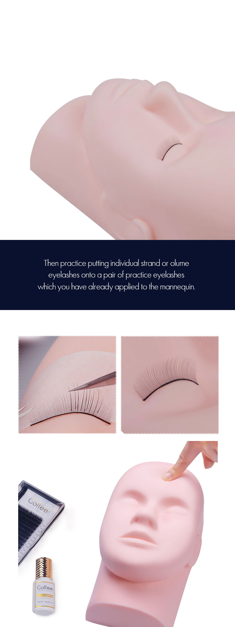 Gollee Wholesale Private Label Eyelash Mannequin Reusable Training ToolsHead Eyelash extension Head Eyelash Mannequin