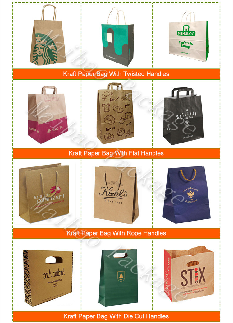 Take Away Brown Paper Bag Kraft With Flat Handles