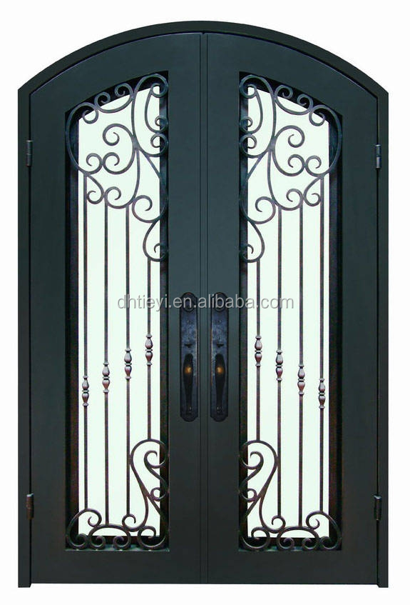 Hot sale antique wrought iron house front entry double for House entry doors sale