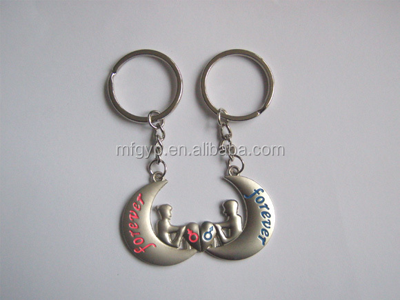Heart shape love couple souvenir metal keychain for promotion