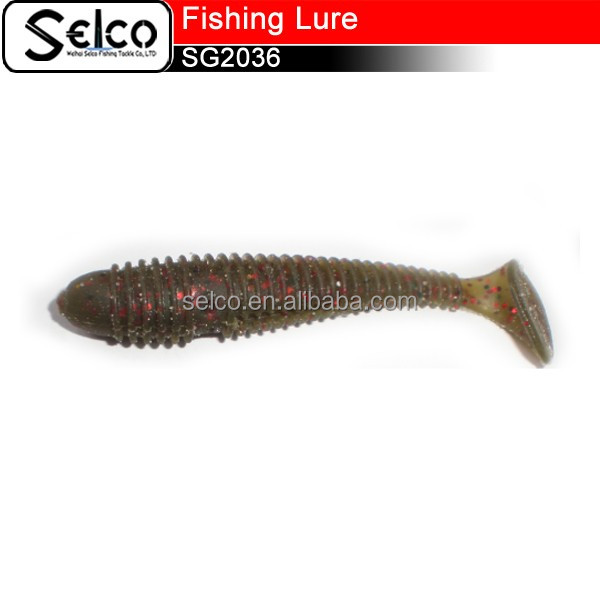 7cm Weihai Grub lures plastic worm baits soft fishing lures, Paddle tailor