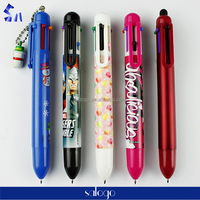 Colorful and cartoon style plastic multi-color touch stylus pen for kids