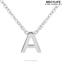 MECY LIFE Stainless Steel A-Z Initials Alphabet Letter Necklace Simple Fashion Letter Charms Pendant