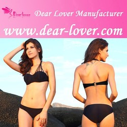 Sexi Hot Solid Black Strappy Halter Bikini New Japanese Swimwear
