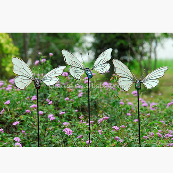 Metal Outdoor Glow In The Dark Butterfly Garden Stake Garden Decoration Factory
