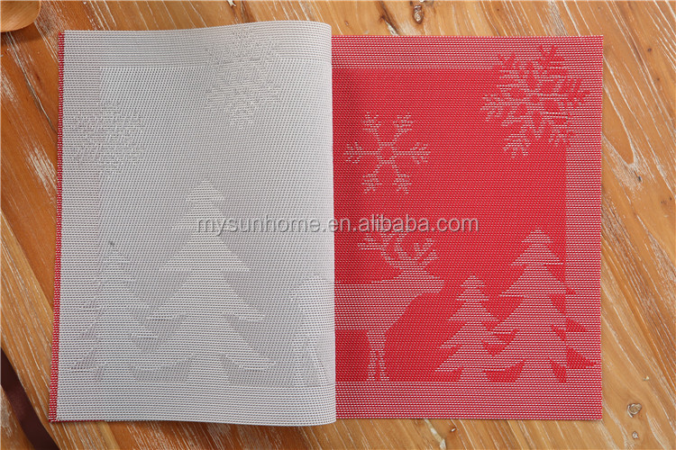 PVC woven vinyl placemat recycled pvc placemat christmas paper placemats
