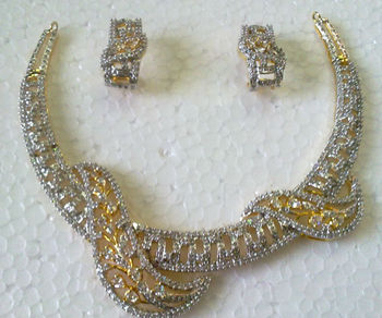 American Diamond Indian Wedding Bollywood Necklace with Earrings