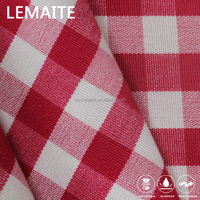 Red Plaid Table Cloth Water Stain Resistant Custom Bulk Polyester Fabric
