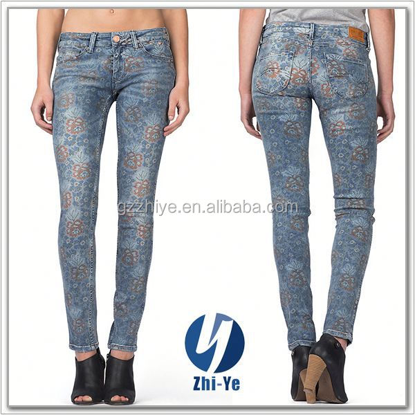 made in China factory price women printed jeans