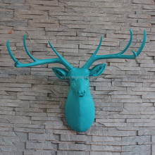 Faux Resin Deer Head Hanging Wall Mounted Home Decor animal Statue Figurine