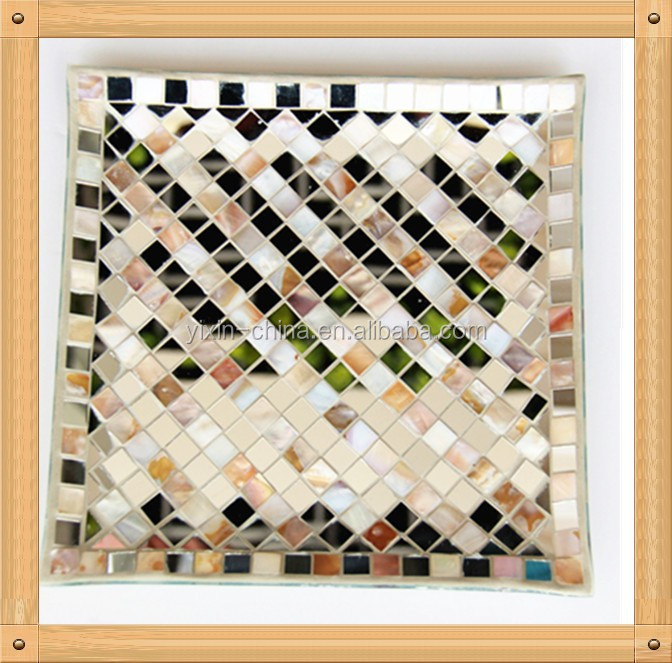 30cm For Chocolate Square and Round Shape Seashell Mosaic Glass Plate