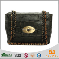 S345-A2377 classic black shoulder bags fashion crocodile handbag designer handbags genuine leather bag alibaba cheap satchel