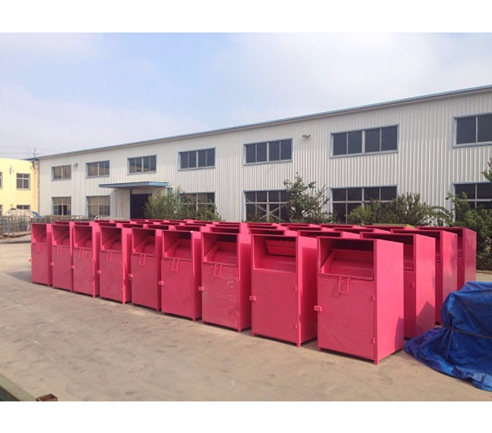 JNZ Goodwill steel cloths collection bin Galvanized Wastes Recycling Bin