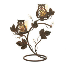 Wise Owl Duo Stand Two Glass Candle Cups Iron Vines Leaves Flower Buds