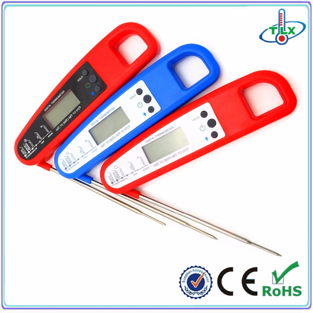 2016 hot selling folding digital bbq meat thermometer