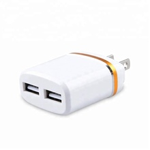Small design 2.1A dual usb port Fold US plug wall charger