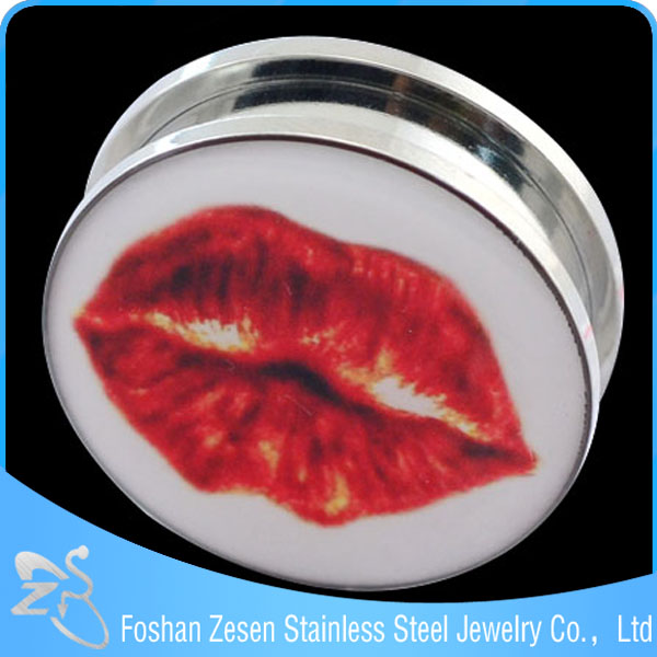 2016 Sexy lady ear flesh tunnel plug ear piercing jewelry with epoxy red lip picture