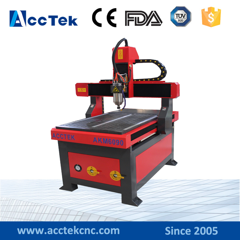 Jinan AccTek cnc wood embossing machine 6090 / cnc wood carving door router
