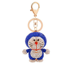 Luxury 3D rhinestone charm cartoon cat keychain, Japanese style Crystal anime gift souvenir Sparkling bag Charms Key chain