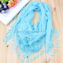 2016 spring summer fashion lace pink triangle scarves wholesale