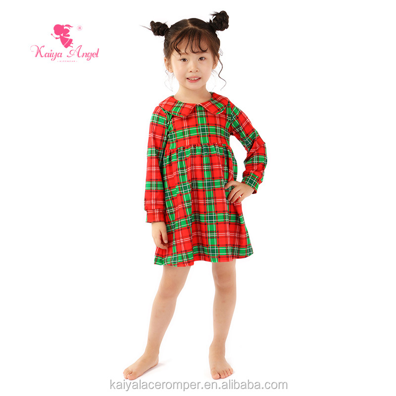 Boutique girl clothing 2017 fall Peter pan collar Girls Christmas Plaid Dress with button