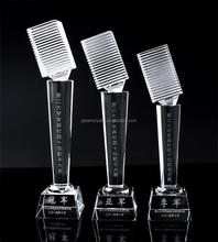 Hot-seller Crystal Microphone Trophy Award For Singing competition/ K9 Crystal Trophy