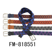 FM brand men polyester belts canvas elastic fabric stretch multicolored braided belts