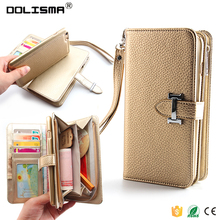 2016 Wallet Case Egrace Magnetic Detachable Removable Wallet Zipper PU Leather Case with Strap and Card Slot for iPhone 6s plus