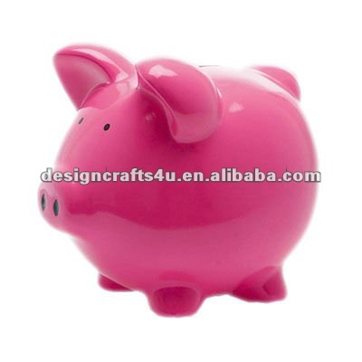 ceramic red pig coin bank