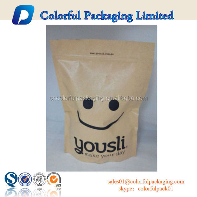 Big capacity Custom stand up zipper kraft paper bag for dry food with smile face