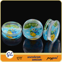 Picture ear plug acrylic ear tunnel body jewelry wholesale body jewelry no minimum