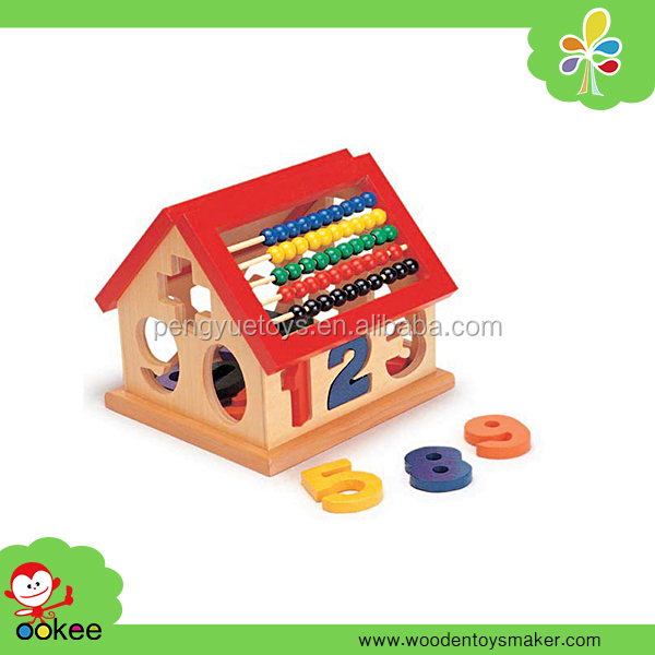 2016 Educational EN71 nontoxic Colored intellgence toy shape sorter house montessori teaching aid with bead abcus