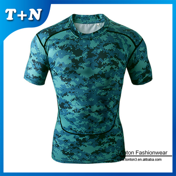 custom printed fitness compression lycra polyester sport t-shirt wholesale