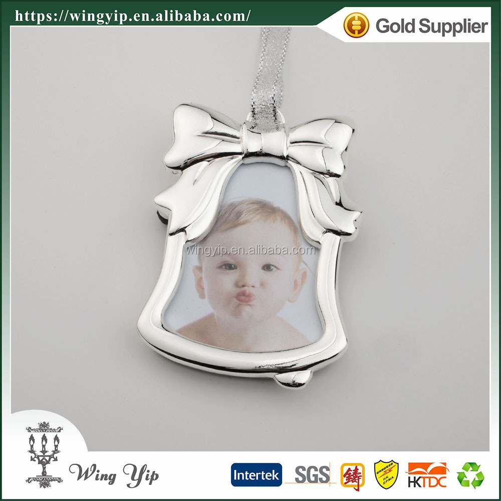 Wholesales Tailor made Bell Shape with photo Silver Plated X'mas gift for decoration