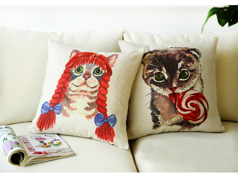 Creative cute cat Printing large sofa cushion covers with PP cotton pillow case