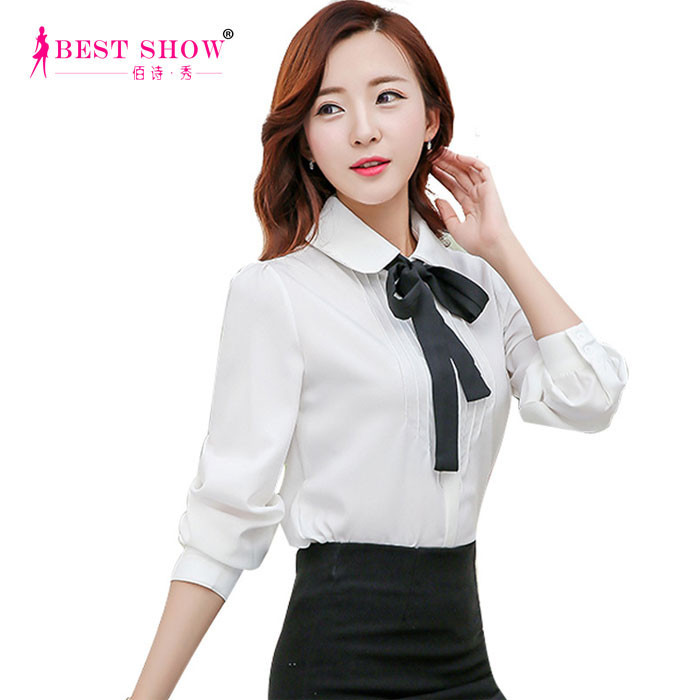 Ladies Formal Wear White Women Blouses 2015 Korean Office Long Sleeve Peter Pan Collar With Bow Tie Working Shirt Wholesale