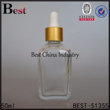 Top quality square essential oil bottle, clear pure glass bottles use perfume oils, wholesale matt gold dropper sealing type