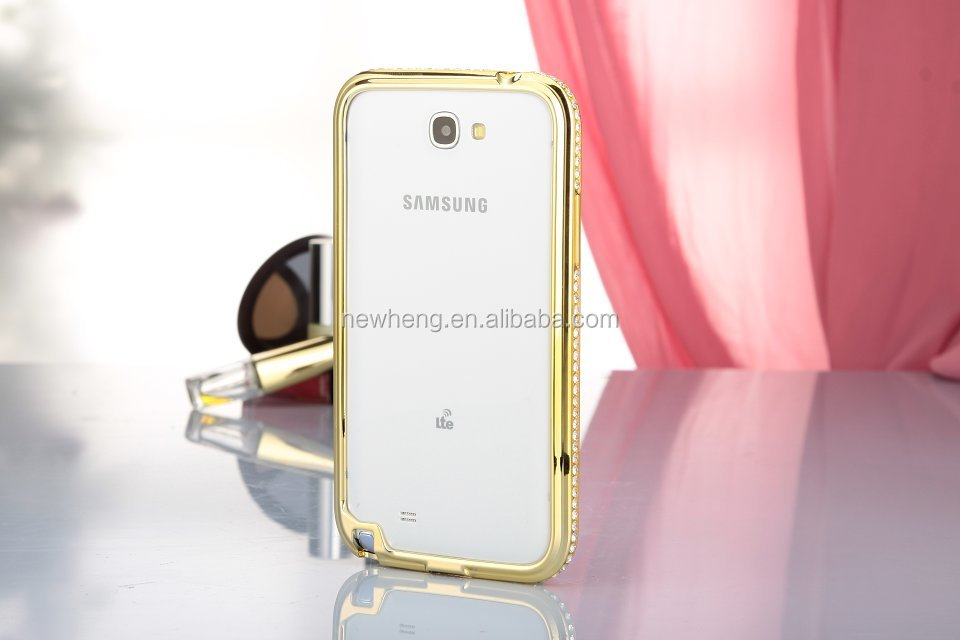 Original Aluminum Deluxe Bling Metal sublimation phone case with diamond frame for Samsung Note2(N7100)
